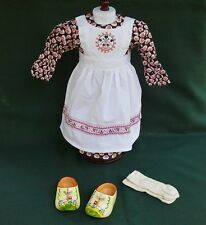 """American Girl 18"""" Retired Kirsten BAKING OUTFIT w WOODEN SHOES and SOCKS REPRO"""