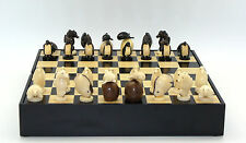 Chess Set - Carved Tagua Nut Chess Pieces on Black and Maple Chess Board