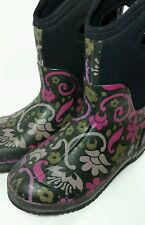 BOGS womens snow rain boots Classic Mid Corsage 6 floral black GUC