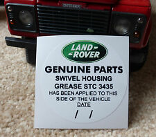 Land Rover Defender 90 110 Tdi STC3435 Swivel Grease Genuine Parts Sticker Decal
