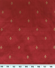 Drapery Upholstery Fabric Diamond Pattern w/ Embroidered Fleur De Lys - Red