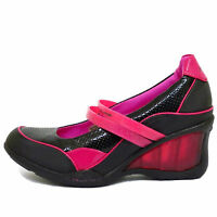 New Girls Ladies Black+Pink Wedges Heel Trainers Shoes Pumps Women UK Sizes 2-5