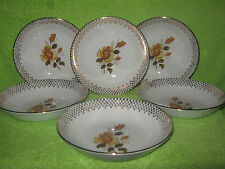 Vintage J&G Meakin Rare '' Yellow Rose '' Heavily Gilded 6 x Soup Bowls 19 cm