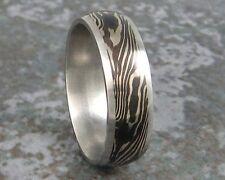 Mokume Gane Shakudo White Gold Wedding Ring Band Custom Made to ANY Sizing