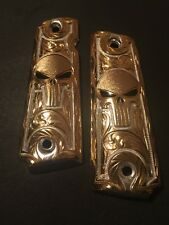 Gun Grips Punisher Red Eyes Gold With Silver Cachas colt 38 45 1911