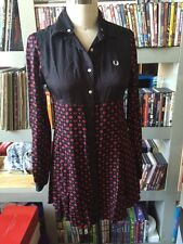 FRED PERRY Womens Northern Soul Twisted Wheel Mod Shirt Dress Sz US 6 UK 10 Oi!