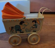 Unusual Tin Baby Carriage Miniature Toy Pram Dolly NIB w/ Puppy and Kitty