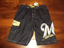 Boys 14 16 Milwaukee BREWERS Swim Trunks Shorts UV50 Sun Protection Blue Lined