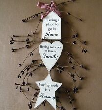 Rustic Country Wood PLACE GO2 HOME LOVE FAMILY BLESSING berry plaque decor Sign
