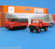 Roco Minitanks H0 633 Set UNIMOG + M548 Zugmaschine US Army Fire Dept. HO 1:87
