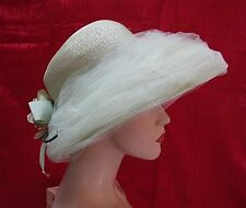 "VINTAGE LADIES HAT, ""TRENDSETTER"" MINT GREEN w/ FLOWER sz 22, SPECIAL OCCASION"