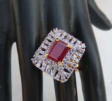 Bollywood Diamante Fashion Jewelry Indian Bridal Party Ruby Ring Free Size rtd10