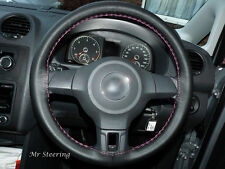 FOR SUZUKI ALTO 100%REAL BLACK LEATHER STEERING WHEEL COVER 04-14 PINK STITCHING