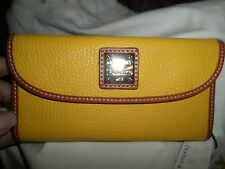 Dooney & Bourke Yellow Dillen Continental Leather Checkbook Wallet NWT