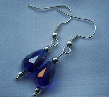 Hand made unique blue teardrop shaped crystals earrings silver plated + stoppers
