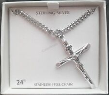 "Men's 925 Sterling Silver Crucifix Cross Pendant w/24"" Necklace Chain-NEW"