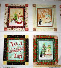 Holiday Dreams Snowmen & Penguin It's a Wonderful Life Christmas Fabric Panel