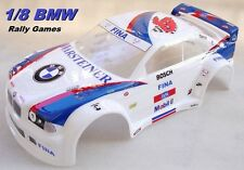 Carrozzeria Body 1/8 Rally Games GT BMW M3 vericiata e ritagliata BIANCA Painted