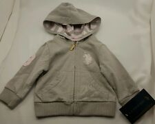 US Polo Association Hooded Zip Up Jacket Baby Girl Kids Size 12 Months NWT