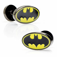 Officially Licensed DC Comics Batman Black & Yellow Enamel Oval Logo Cufflinks