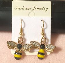 Awesome Goldtone Black and Yellow Enamel Bumble Bee Pierced  Earrings