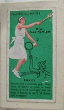 JOHN PLAYER & SONS TENNIS CIGARETTE CARD-MISS JOAN HARTIGAN-DRY MOUNTED ON BOARD