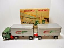 1950's Consolidated Freightways 'Friction Tractor & Double Van Trailers' Tin Toy