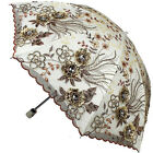 New Women Lady Folding Anti-UV Sun Rain Parasol Elegant Embroidery lace Umbrella