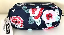 LeSportsac Kevyn Cosmetic Bag Pencil Case Make up Pouch Navy Rose Flowers NWT