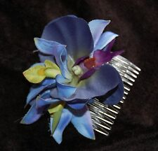 BRIDAL ROCKABILLY WEDDING PIN UP BLUE ORCHIDS HAIR COMB