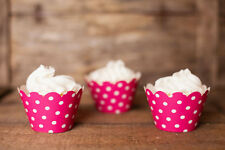 Hot Pink Polka Dot Cupcake Wrappers, Set of 12