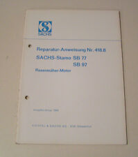 Reparaturanleitung SACHS Stamo SB 77 / SB 97 - Rasenmäher Motor - Ausgabe 1969!