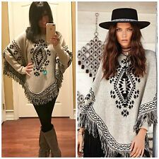 ELAN Boho Long Sleeve SOUTHWEST Aztec Fringe Poncho Sweater Natural/Black S-XL