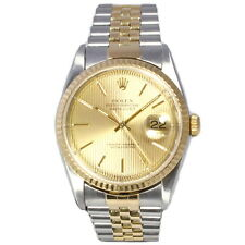 Gents Rolex Oyster Perpetual Datejust Striped Champagne Dial Bi Metal 16233