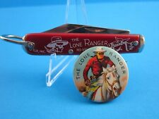 """VINTAGE STYLE...""""THE LONE RANGER  POCKET KNIFE"""" & 1950's COLORFUL PINBACK BUTTON"""