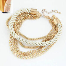 Korean Fashion Popular Women Elegant Gold Chain Braided Rope Multilayer Bracelet
