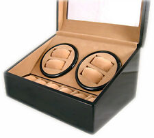 NEW DOUBLE QUAD WATCH WINDER STORAGE DISPLAY BOX/CASE BLACK WOOD (4)+6 AUTOMATIC