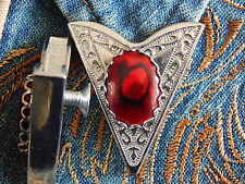 NEW HANDCRAFTED RED ABALONE COLLAR TIPS SILVER METAL,GOTH,WESTERN,COWBOY