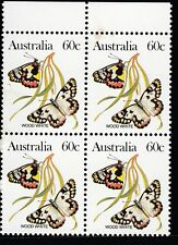 1983 Australian Butterflies -block of 4 x 60c Wood White stamps MUH