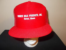 VTG-1980s Forrest Milk Products Illinois Cows Distributor Milkman hat sku16