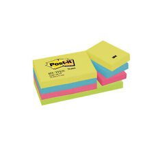 3M POST-IT STICKY NOTES / 38 x 51mm / 12 PAD PACK / ENERGY COLOURS / 653TF