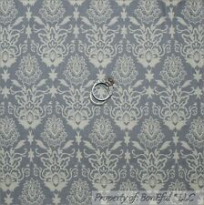 BonEful Fabric FQ Cotton Quilt Gray Flower Toile Damask Old World Charm Scroll