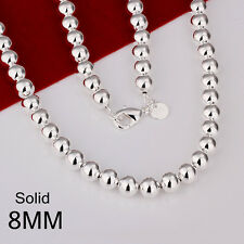 Stunning 925 Sterling Silver Filled 8MM Solid Ball Beads Charm Necklace 20""