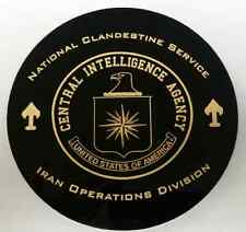 "CIA NCS IOD Iran Operations Division 5"" Black Polished Acrylic Disk w Gold Paint"