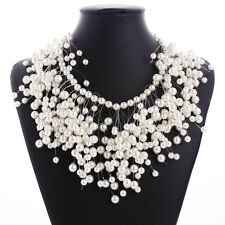 Women Gold Chain Faux Pearl Bead Cluster Chunky Choker Bib Statement Necklace