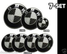 7x BMW Carbon Schwarz weiss Emblem Logo Motorhaube 2x82mm 4x68mm 1x45mm