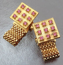 Vintage Pair of Pink Rhinestone Wrap Around Cufflinks Gold Tone Signed Lisa