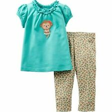 NWT Girls 12 Month Outfit Tunic Top & Leggings CARTERS 9-12  Ruffles SPRING Baby