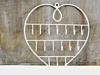 Wire Heart Key Jewellery Wall Hanger Holder Cream Metal Necklaces Earrings