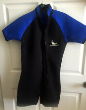 DIVEMASTER Blue Black Shorty Scuba Triathlon Full Zip Short Sleeve Wetsuit M